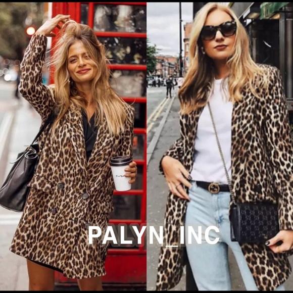 be4e9f458186 Zara Jackets & Coats   Leopard Print Jacquard Coat Animal Print ...